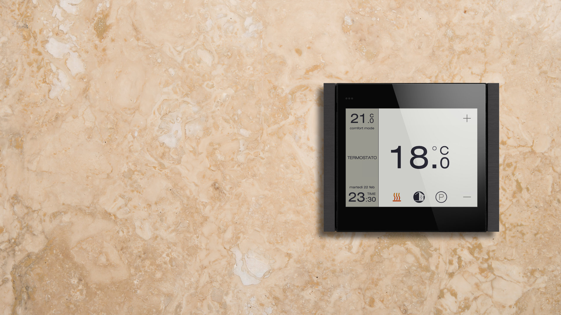 Ekinex KNX - Rom Termostat Touch - TouchSee Control - Flank Serie